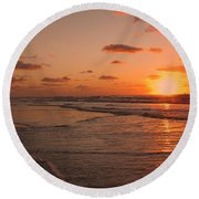 Round Beach Towel featuring the photograph Wildwood Beach Sunrise II by David Dehner