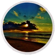 Round Beach Towel featuring the photograph Wildwood Sunrise by Ed Sweeney