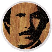 Will Ferrell Anchorman Ron Burgundy On Simulated Simulated Wood Round Beach Towel