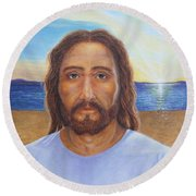 Will You Follow Me - Jesus Round Beach Towel by Michele Myers
