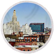 Williamsburg Savings Bank In Downtown Brooklyn Ny Round Beach Towel by Lilliana Mendez