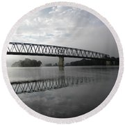 Williamstown Bridge Williamstown West Virginia Round Beach Towel