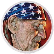 Round Beach Towel featuring the painting Willie Nelson Artwork by Sheraz A