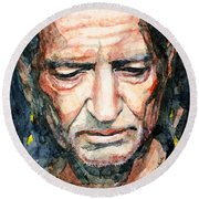 Round Beach Towel featuring the painting Willie Nelson  by Laur Iduc