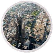 Willis Tower Southwest Chicago Aloft Round Beach Towel