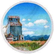 Willow Creek Grain Elevator II Round Beach Towel
