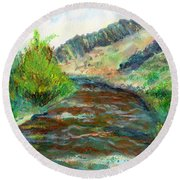 Willow Creek In Spring Round Beach Towel
