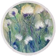 Willowy Whites Round Beach Towel