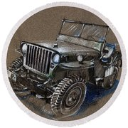 Willys Car Drawing Round Beach Towel