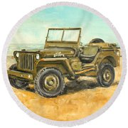 Willys Jeep Round Beach Towel