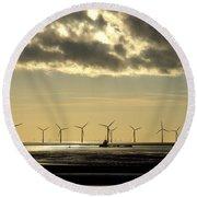 Wind Farm At Sunset Round Beach Towel