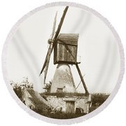 Round Beach Towel featuring the photograph Wind Mill In France 1900 Historical Photo by California Views Mr Pat Hathaway Archives