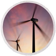Wind Turbine Blades Spinning At Sunset Round Beach Towel