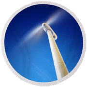 Wind Turbine From Below Round Beach Towel