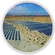 Wind Turbines And Solar Panels, Palm Round Beach Towel