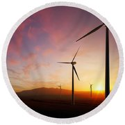Wind Turbines At Sunset Round Beach Towel
