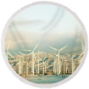 Wind Turbines With Mountains Round Beach Towel