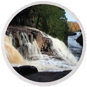 Winding Falls Round Beach Towel by James Peterson