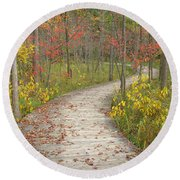 Round Beach Towel featuring the photograph Winding Woods Walk by Ann Horn