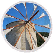 Windmill  2 Round Beach Towel by George Katechis