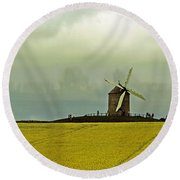 Windmill And Rapeseed And Storm Round Beach Towel