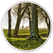 Round Beach Towel featuring the photograph Windmill And Trees In Groningen by Frans Blok