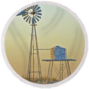 Windmill At Dawn 2011 Round Beach Towel