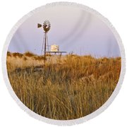 Windmill At Dusk 2011 Round Beach Towel