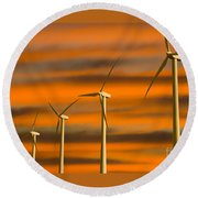 Windmill Farm Round Beach Towel