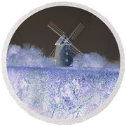 Windmill In A Purple Haze Round Beach Towel