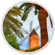 Windmill In Palma De Mallorca Round Beach Towel
