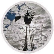 Round Beach Towel featuring the digital art Windmill In The Clouds by Cathy Anderson