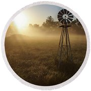 Windmill In The Fog Round Beach Towel