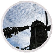 Round Beach Towel featuring the photograph Windmill On A Cloudy Day by William Selander