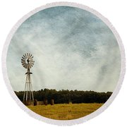 Windmill On The Farm Round Beach Towel
