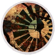 Windmill Through The Oak Round Beach Towel