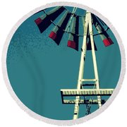 Round Beach Towel featuring the digital art Windmill by Valerie Reeves