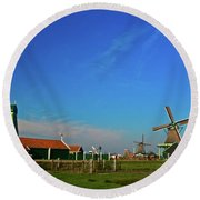 Windmills At Zaanse Schans Round Beach Towel by Jonah  Anderson