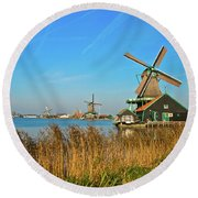 Windmills On De Zaan Round Beach Towel by Jonah  Anderson