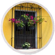 Window At Old Antigua Guatemala Round Beach Towel