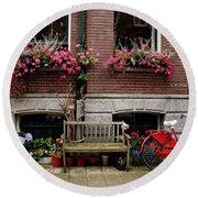 Window Box Bicycle And Bench  -- Amsterdam Round Beach Towel