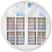 Window Frame Round Beach Towel