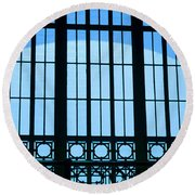 Round Beach Towel featuring the photograph Window In Chattanooga Train Depot by Susan  McMenamin