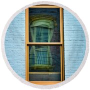 Round Beach Towel featuring the photograph Window In Window In Red Bank by Gary Slawsky
