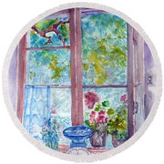 Round Beach Towel featuring the painting Window by Jasna Dragun