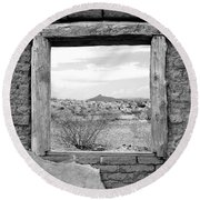 Window Onto Big Bend Desert Southwest Black And White Round Beach Towel