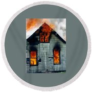 Windows Aflame Round Beach Towel
