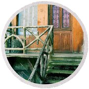 Round Beach Towel featuring the photograph Windows And Doors 25 by Maria Huntley