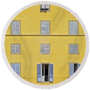 Windows Of Florence Against A Faded Yellow Plaster Wall Round Beach Towel