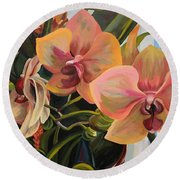 Windowsill Orchids Round Beach Towel
